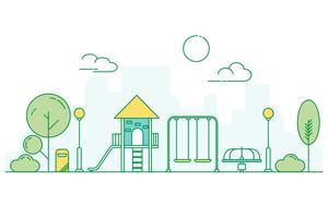 Play ground para crianças no parque infantil jardim. Paisagem do parque urbano. Estilo de arte de linha fina. vetor