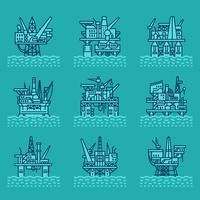 Conjunto de ícones de plataforma de petróleo. vetor