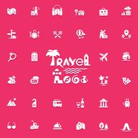 Conjunto de logotipo e ícones de viagens vetor