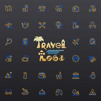 Logotipo de viagens e ícones vetor