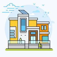 Casa residencial plana moderna colorida.