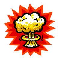 Nuvem de cogumelo atômico bomba nuclear explosão Fallout vector ícone