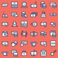 Conjunto de ícones de negócios e finanças.