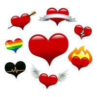 Coleção de ícones de coração: coração básico, coração de bandeira, coração partido, coração de flecha, coração flamejante, coração de ECG, coração alado, coração de orgulho gay vetor