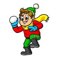 Garoto jogando bola de neve