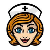 Ilustração em vetor simpático feminino enfermeira Cartoon rosto sorriso