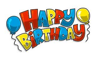 Gráfico de texto colorido feliz aniversário com logotipo de vetor de balões de festa