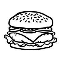 Ilustração em vetor hambúrguer dos desenhos animados