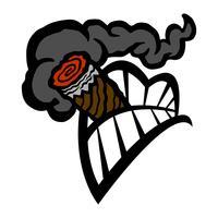 Ícone de vetor de dentes de boca fumar charuto