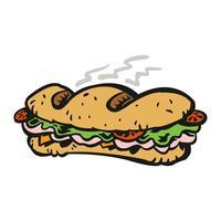 Almoço de sanduíche submarino de desenhos animados com pão, carne, alface e tomate vetor