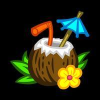 Ilustração de bebida de coco tropical vetor