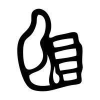 Mão de desenho animado fazendo positivo polegares para cima gesto vetor
