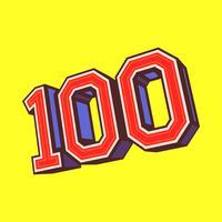 Número 100/100 gráficos de texto na moda legal vetor