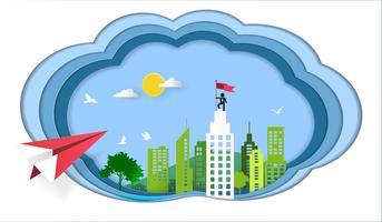 Conceito do sucesso, voo plano vermelho no céu à construção arquitetónica com o homem de negócios na bandeira guardando superior.
