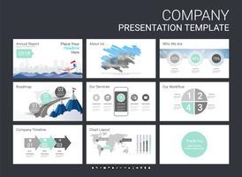 Modelo de slide de apresentação para sua empresa com elementos de infográfico. vetor