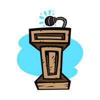 Pódio de apresentação para palestras ou falar em público - gráfico de vetor