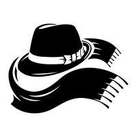 Chapéu de fedora preto de ilustração vetorial com cachecol