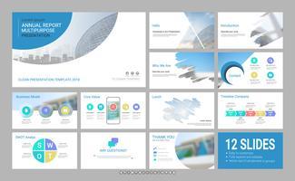 Modelo de slide de apresentação para sua empresa com elementos de infográfico.