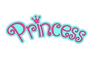 Gráfico de logotipo feminino rosa princesa texto com coroa