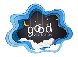 Bom projeto de texto de sonho sob a luz da lua e estrelas, boa noite e sono bem conceito móvel de origami.