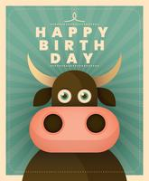 Cartão de aniversário animal vetor