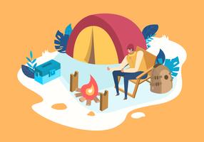 Ilustração plana de vetor de acampamento de verão