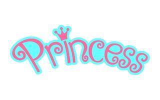 Gráfico de logotipo feminino rosa princesa texto com coroa vetor
