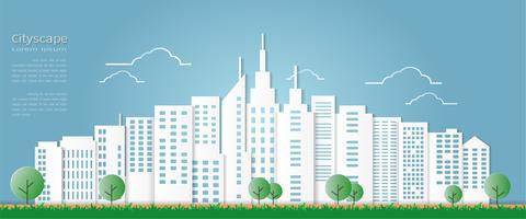 Estilo da arte de papel para a construção arquitectónica e o fundo da arquitectura da cidade.