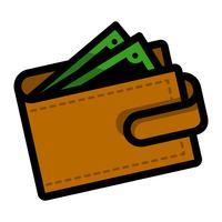 Ícone de vetor de dinheiro carteira