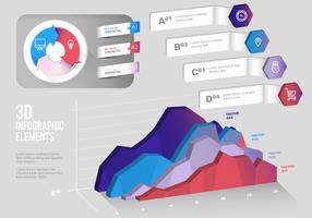 Modern 3D Color Infográfico Elements Vector Set