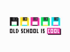 Arte de pixel de disquete colorida retrô vetor