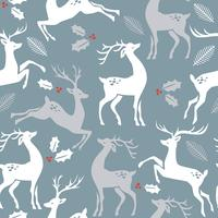 Padrão de Natal com veados. Vector a textura para o empacotamento do presente, cartão do convite, tampa, papel de parede, álbum de recortes, matéria têxtil, decoração do feriado.