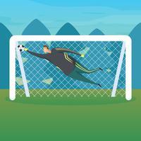 Futebol, goleiro, pegando bola vetor