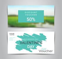 Feliz dia dos namorados, vales-presente e vouchers, cupom de desconto ou modelo de promoção web banner com fundo desfocado. vetor