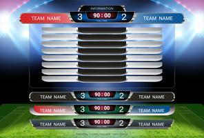 Modelo de placar e terço inferior, futebol esportivo e jogo de futebol da equipe A vs equipe B. vetor