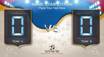 Placar de tempo digital, equipe de jogo de futebol A vs equipe B. vetor