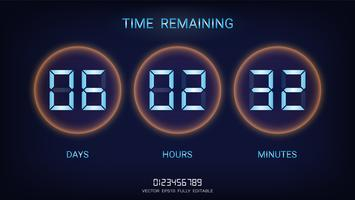 Contagem regressiva restante ou contador de relógio com exibição de dias, horas e minutos. vetor