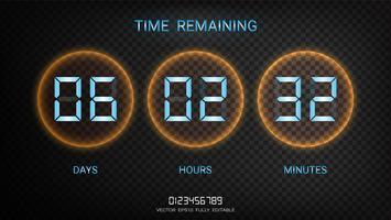Contagem regressiva restante ou contador de relógio com exibição de dias, horas e minutos.