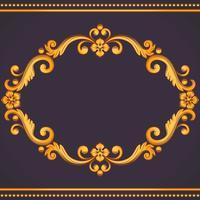 Quadro vintage ornamental. Ilustração vetorial em cores amarelas e violetas