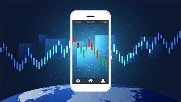 Conceito de negociação de ações móveis com gráficos de gráficos candlestick e financeiros na tela.
