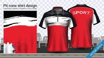 Corrida de t-shirt com zíper, modelo de maquete do esporte vestuário. vetor