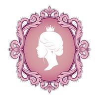 silhueta de perfil de uma princesa no quadro vetor