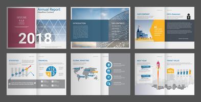 Relatório anual de perfil da empresa e folheto da agência de publicidade.