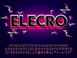 Tipo de letra eletrônico com efeito de falha 3D vetor