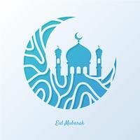 Ilustração de cartão de saudação Eid Mubarak vetor