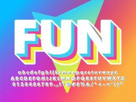 Divertido E Amigável Soft 3d Font vetor