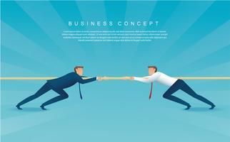 empresários puxam o conceito de negócio de corda. fundo de cabo de guerra vetor