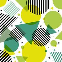 Círculos modernos da forma da natureza verde abstrata e teste padrão dos triângulos com linhas pretas diagonalmente no fundo branco.
