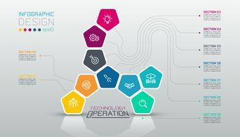 Os pentágonos etiquetam infographic na arte do vetor.