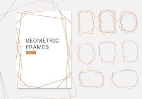 Coleção de quadros de ouro poliedro geométrico. estilo de art deco de modelos de luxo para convite de casamento